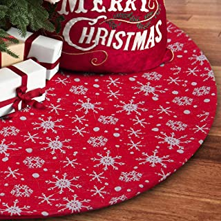 S-DEAL 32 Inches Small Christmas Tree Skirt Double Layers Red and White Snow Carpet for Party Holiday Decorations Xmas Ornaments