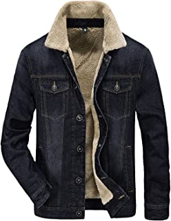 Men's Winter Casual Lined with Cashmere Warm Denim Jacket