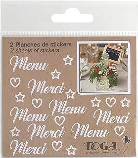 D.I.Y with Toga STY303, Mariage Lot de 2 Planches de Stickers, Autre, Blanc, 10 x 10 x 0.1 cm