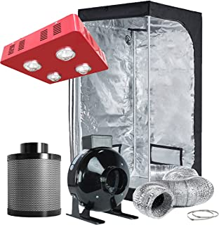 TopoLite Grow Tent Complete Kit Hydroponic Growing System LED800W Grow Light+4
