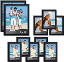 Icona Bay Combination Picture Frames Set - 10 PC (Black, Five 4x6, Three 5x7, Two 8x10), Inspirations Collection Multi-Pac...