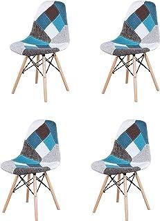 00 Juego de 4 sillas de tela de patchwork sin brazos, combinación moderna y retro, para comedor, sala de estar, oficina, cocina, sillas de café (azul)