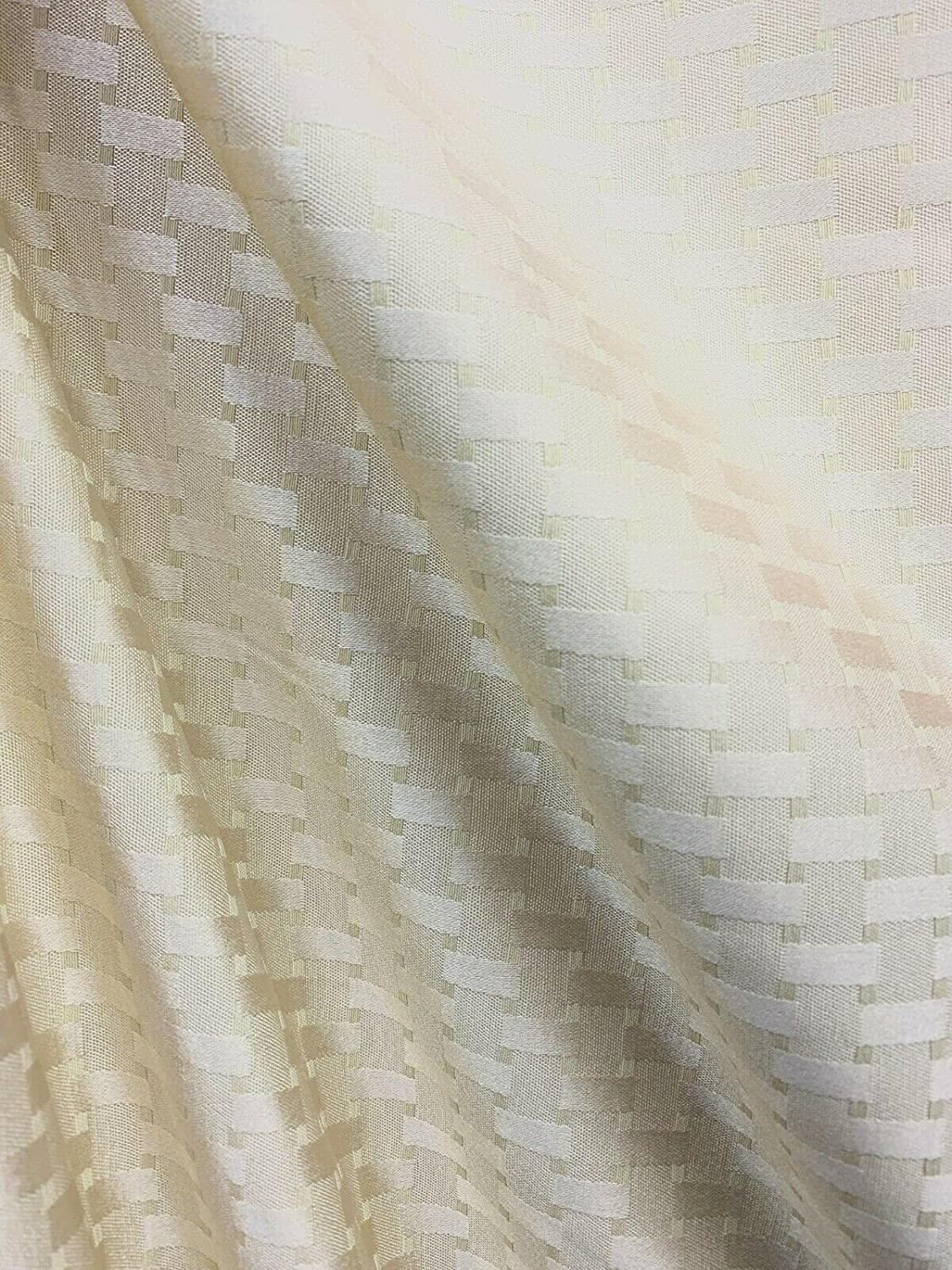 Fabric by OFFer Mesa Mall The Yard - Ivory Geometric Drapery Upholstery Brocade