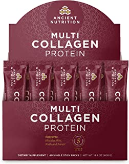 Ancient Nutrition Multi Collagen Protein Powder Stick Packs, Pure, Formulated by Dr. Josh Axe, Supplement Supports Hair, S...