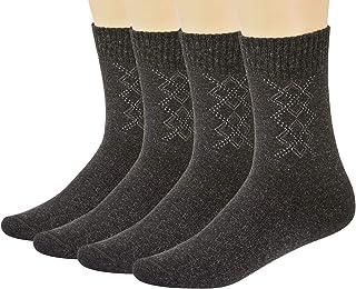 حزمة من 4 جوارب دافئة، جوارب رجالية شتوية صوفية، جوارب سميكة مريحة، مقاس 6-12