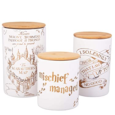 Harry Potter Marauder's Map Porcelain 3 Piece Canister Set - Three Sizes with Gold Marauders Map Design