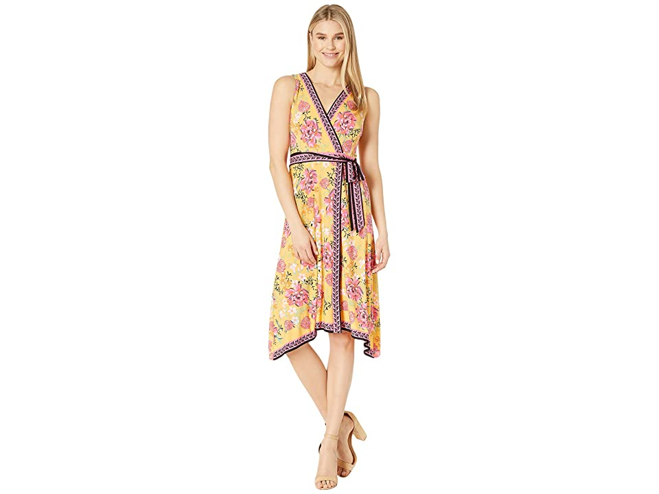 London Times Twin Print Wrap Dress (Yellow/Pink) Women