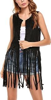 Hotouch Women Fringe Vest Faux Suede Tassels 70s Hippie Costume Open-Front Sleeveless Vest Cardigan Female