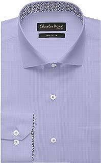 Charles Dino Mens 100% Giza Cotton Regular FIT Lilac Stripe Shirt for Formal WEAR for Men