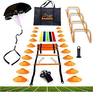 مجموعه آموزش سرعت چابکی Big B Pro Sports - شامل نردبان ، 20 مخروط با نگهدارنده ، چتر نجات ، طناب پرش ، باندهای مقاومت و موانع برای تمرین ورزشکاران فوتبال ، فوتبال و بسکتبال