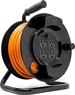 WEN PC5043R 50 ft. 14-Gauge Heavy-Duty SJTW Outdoor 14/3 Extension Cord Reel with NEMA 5-15R Light-Up Power Outlet