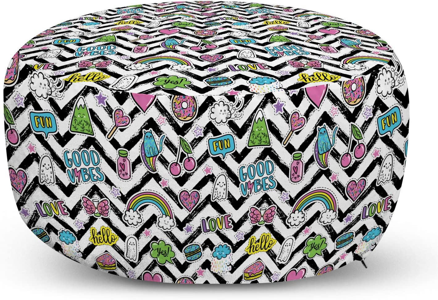 Ambesonne Chill Pouf Cover with Color Max 66% OFF 70% OFF Outlet Black Zigzags Zipper