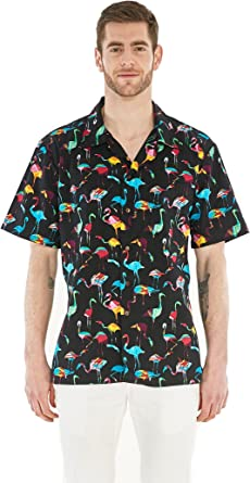 Camisa Hawaiana Hawaii para Hombres con Mangas Hawaianas Camisa Hawaiana Flamingo Party