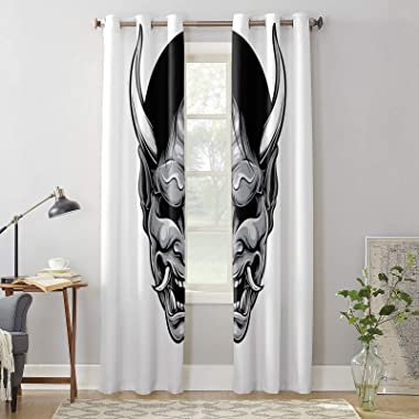 Polyester Window Curtains of 2 Panels Demon 27.5 x 39 Inch Semi Sheer Durable Window Curtains for Living Room,Bedroom,Home De