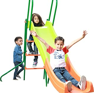 SLIDEWHIZZER Kids Play Outdoor Playground Slide; 8-FT Freestanding Playset and Rider for Children. Backyard Toy Entertainment Play Set. Learn While Playing. Exceedingly Safe. Fun for Hours.