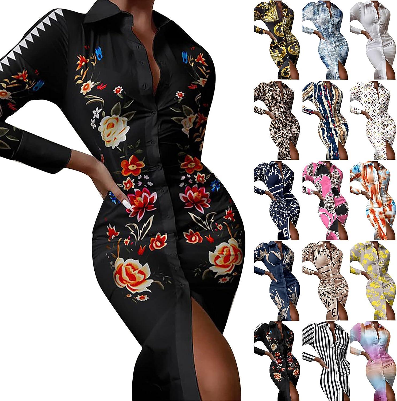 BBesty Women's Slim Printed Shirt Dress Long Sleeve Lapel Button Down Midi Dress Fit Bodycon Party Club Night Dresses