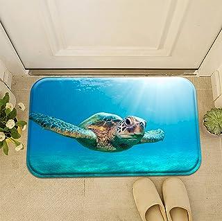 Personalised Design Decoration Classic Blue Ocean Sea Turtle Doormat Entrance Mat Floor Mat Rug Front Door/Indoor/Outdoor/...