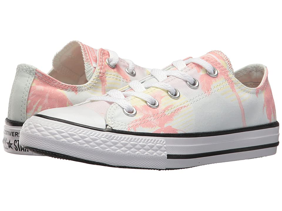 Converse Kids Chuck Taylor All Star Palm Trees Ox (Little Kid/Big Kid) (Barely Green/Pale Coral/White) Girls Shoes