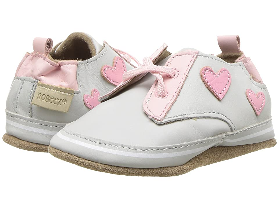 Robeez Heartbreaker Soft Sole (Infant/Toddler) (Light Grey) Girl