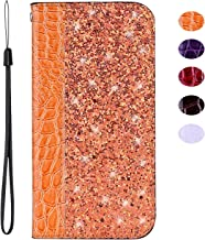 vingarshern Funda para LG Nexus 5X Carcasa de Cuero PU,Magnética Cierre Protectiva Soporte Plegable Flip Cubierta Glitter Carcasa LG Nexus 5X Funda Piel con Ranura para Tarjeta(Naranja)