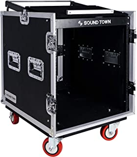 $259 » Sound Town 12-Space PA/DJ Rack/Road ATA Server Case with Slant Mixer Top and 25.6 inches Lid to Lid Depth (STMR-S12UW)