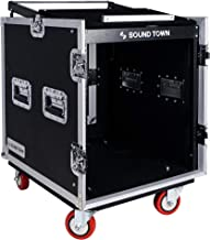 Sound Town 12U PA DJ Rack/Road ATA Case with 12U Slant Mixer Top, 22'' Rackable Depth and Casters, 12 Space Size (STMR-S12UW)