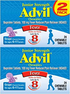 Advil Junior Strength Chewables (24 Tablets, Grape Flavor), 100mg Ibuprofen, Fever Reducer/Pain Reducer, Ages 2–11, Pack of 2
