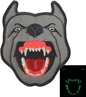 LEGEEON Glow Dark GITD K9 Pitbull Dog Teeth Scary Fierce Morale Tactical Embroidered Touch Fastener Patch