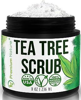 Tea Tree Oil Body Scrub - 8 oz 100% Natural Body & Foot Exfoliator with Tea Tree Oil - Best Scrub with Dead Sea Salt and E...