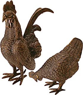 Design Toscano Barnyard Rooster and Hen Solid Cast Bronze Garden Statue Set