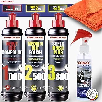 Detailmate Menzerna Auto Polituren Set Menzerna Heavy Cut Compound 1000 Medium Cut Compound 2500 Super Finish Plus 3800 Sonax Spray Seal Mikrofasertuch 40x40cm 550gsm Orange Auto