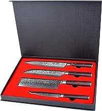 Kitchen Knife Set 4 Piece - Yarenh Chef knife Set - Damascus Stainless Steel - Pakka Wood Handle - Gift Box Packaging - Professional Vegetable knife HXZ-Series