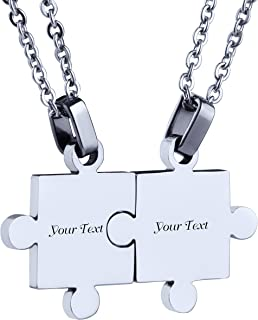 Custom Engraving Name/Date Stainless Steel Jigsaw Puzzle Pendant Chain Necklace for Couple's Gift