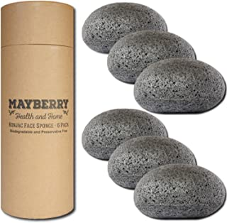 Konjac Facial Sponges with Bamboo Charcoal (6 Pack) Konjac Sponge Set Gently Cleans for Softer More Radiant Skin - Individ...