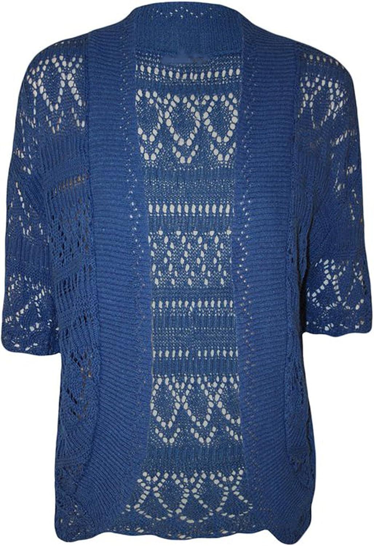 FashionMark Plus Size Women's Crochet Knitted Shrug Cardigan