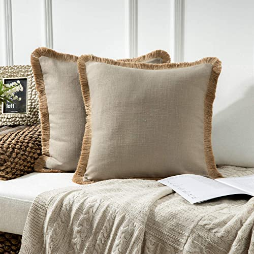 lowest Phantoscope Pack of 2 Farmhouse Decorative Throw sale Pillow Covers Linen Tassel Trimmed Fall Outdoor Pillow Decor, Beige, 18 x 18 wholesale inches, 45 x 45 cm online sale