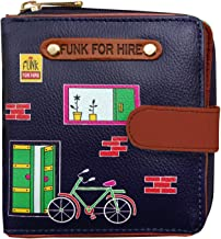 Funk For Hire PU Leather Navy Blue Cycle Printed Women's Small Square Wallet