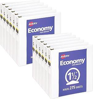 غطاء Avery 3 حلقات 3 من الإقتصادية 1.5 بوصة ، حلقة مستديرة ، تحمل 8.5 بوصة × 11 بوصة ، 12 ورقة بيضاء (05726)