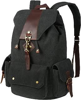 VBG VBIGER Canvas Backpack Vintage Canvas Leather Backpack Casual Bookbag Laptop Backpacks Travel Rucksack for Men Women