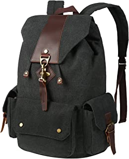VBG VBIGER Canvas Backpack Vintage Canvas Leather Backpack, Black, Size 17.0