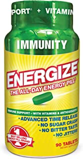 iSatori Energize Immunity Caffeine Pills - Vitamin A, B12, C, D, and E Supplement + Fast- Acting Energy Pill - Daily Immune Support, Super Greens, and All Day Energy, No Jitters, No Crash (90 Tablets)