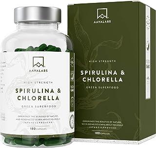 Cápsulas de Espirulina y Chlorella [1800 mg/Dosis Diaria] 180 Comprimidos - Fuente de Vitaminas, Proteínas, Hierro, Fitonutrientes y Calcio - 100% Vegano