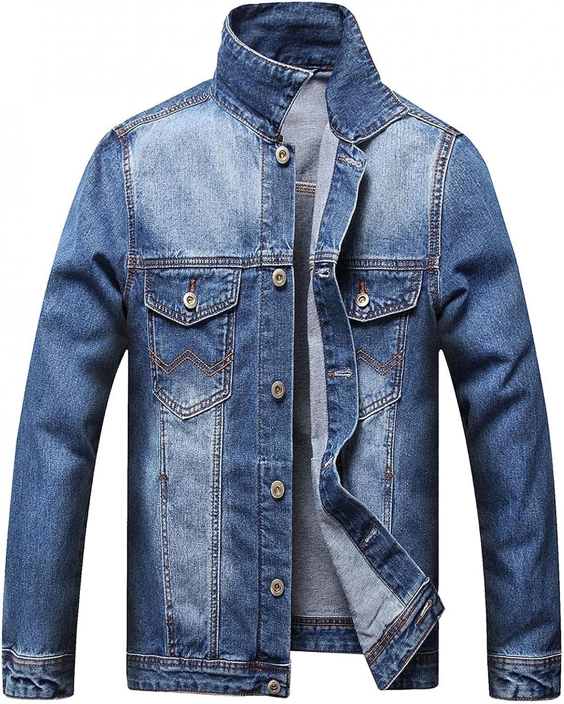 Beshion Blue Jean Jacket for Men Lightweight Long Sleeve Distressed Ripped Denim Jacket Button up Trucker Coat