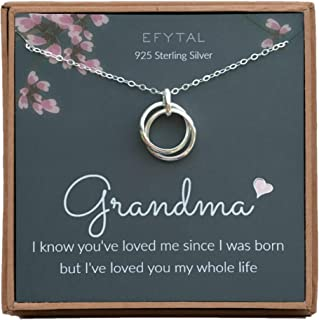 EFYTAL Grandma Gifts, 925 Sterling Silver 2 Thick Interlocking Circles Necklace for Grandmother from Grandchild, Mom Necklaces for Women, Birthday Gift Ideas, Mother's Day Jewelry For Her, Mothers Day