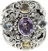 NOVICA Multi-Gem Amethyst .925 Sterling Silver Cocktail Ring, Butterfly Queen'