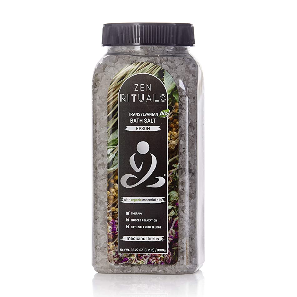 Zen Rituals Therapeutic Bath Salt Epsom With Essential Organic Oils Medicinal Herbs, 2.2 lbs