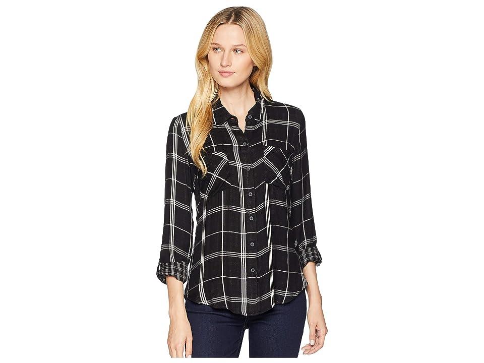 Lucky Brand Boyfriend Plaid Shirt (Black Multi) Women's Clothing