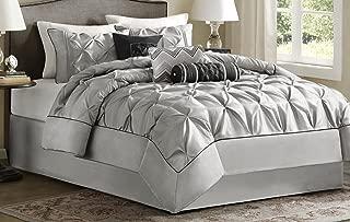 Madison Park MP10-1328 Laurel 7 Piece Comforter Set Queen Grey (Renewed)