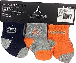 6 Pairs Infant Toddler Jumpman Jordan Socks, 6-12 Months, Orange/Grey/Navy