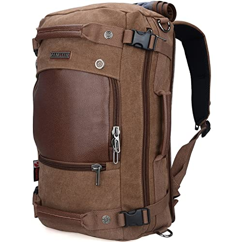 66ebf4e37d WITZMAN Men Travel Backpack Canvas Rucksack Vintage Duffel Bag A2021 (21  inch Brown)